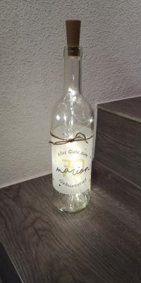 Leuchtflasche zum runden Geburtstag mit Wunschnamen