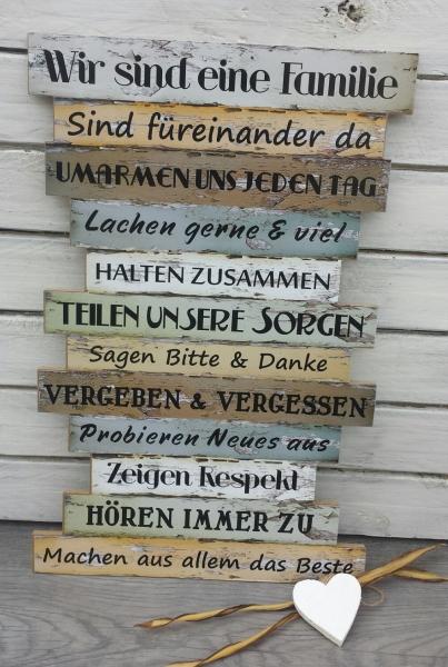 Holzbild Familienregeln