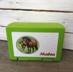 Brotdose Pferde, grün mit Wunschnamen