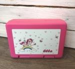 Brotdose Einhorn, pink mit Wunschnamen